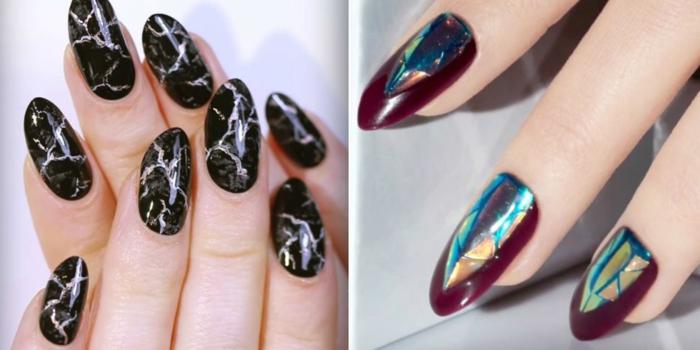 modelos de uñas, propuestas extravagantes de uñas largas de forma de almedra, ideas en colores oscuros