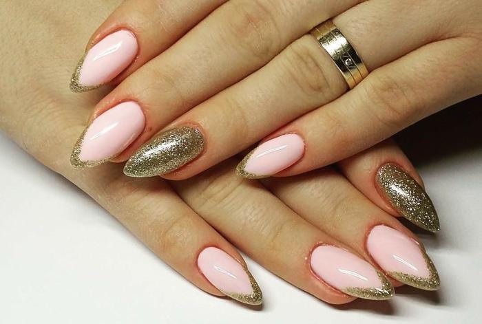 uñas largas, manicura francesa con color rosa y dorado, uñas largas en forma stilleto