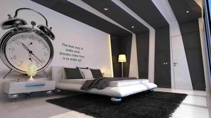 pegatinas pared, dormitorio grande y moderno con cama doble, vinilo de despertador enorme y frase inspiradora
