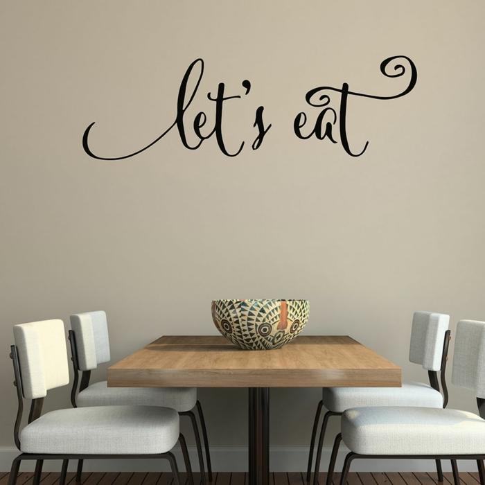 decoracion paredes, idea de vinilo decorativo para el comedor, frase let´s eat sobre la mesa en cursiva