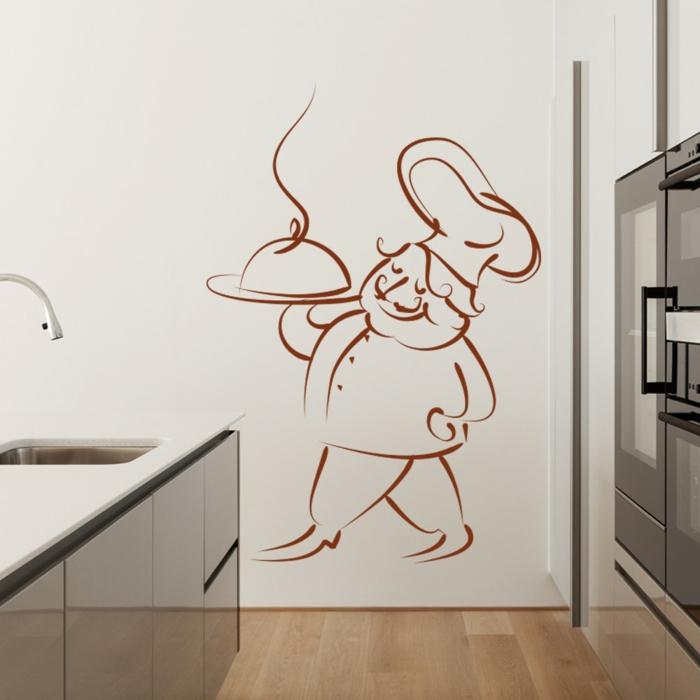 decoracion paredes, vinilo difertido para cocina con cocinero estilo frances, vinilo marrón sobre pared blanca