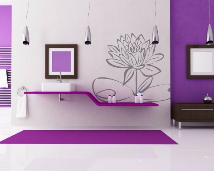 vinilos infantiles, baño moderno en negro y púrpura, vinilo con flor grande gris, lámparas colgante