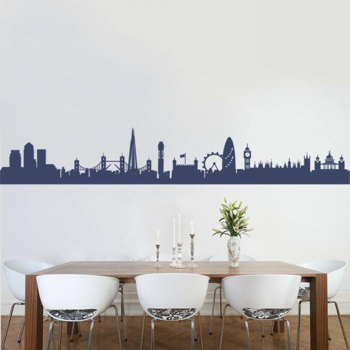 adhesivos pared, vinilo decorativo azul con los edificios emblemáticos de Londres, decoración para comedores
