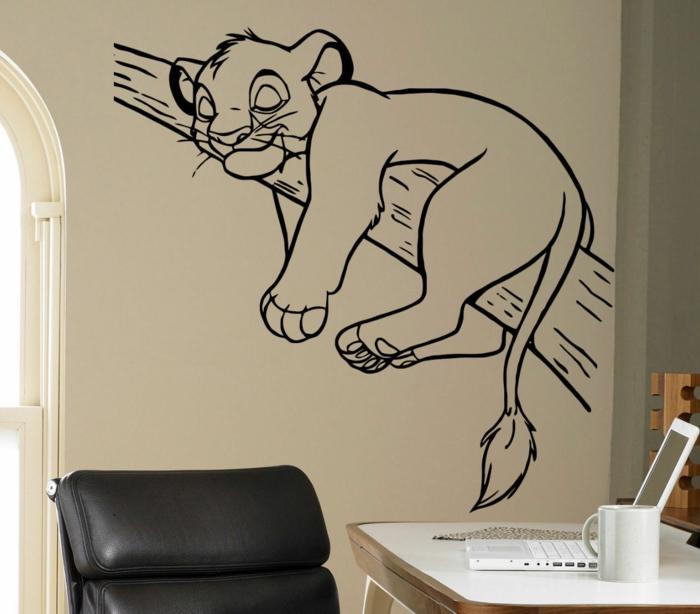 vinilos infantiles, habitación con escritorio, vinilo negro grande con Simba dormido sobre un ramo