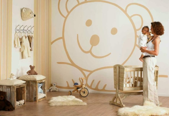vinilos decorativos, habitación de bebé, vinilo grande color ocre en forma de oso, litera de madera, mamá con su bebé