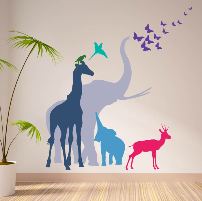 vinilos decorativos, idea de vinilos de color con animales de Africa para habitaciones infantiles, elefante, antílope y girafa