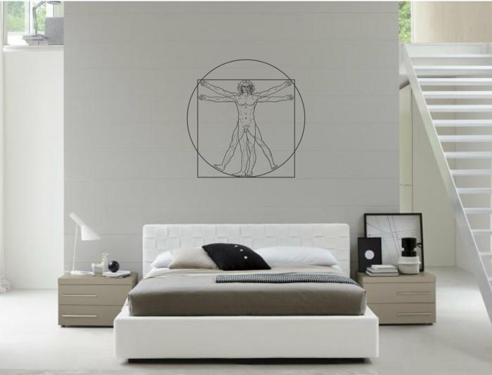 adhesivos pared, dormitorio moderno en blanco con escaleras, vinilo con el hombre de vitruvio sobre cama doble