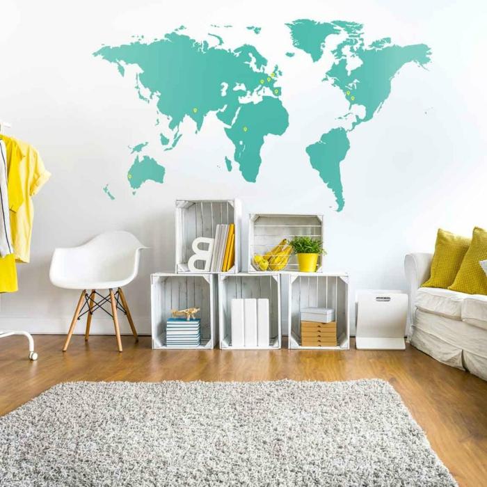 adhesivos pared, decoración salón en blanco y amarillo, vinilo de pared mapa mundo grande color aguamarina