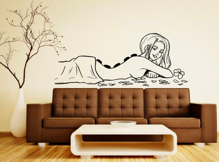 adhesivos pared, decoración moderna salón en marrón y beige, vinilo negro - masaje de mujer con piedras