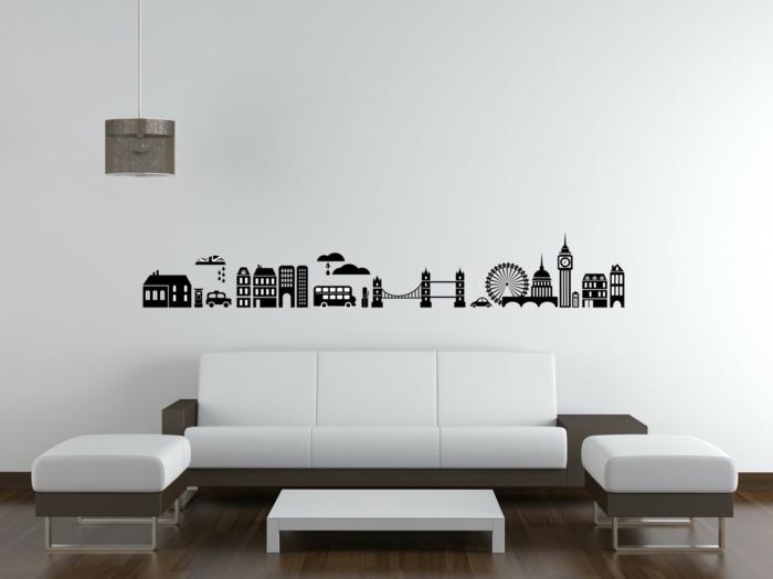 adhesivos pared, salón en marrón y blanco con sofá y taburtetes, vinilo de pared con los edificios emblemáticos de Londres
