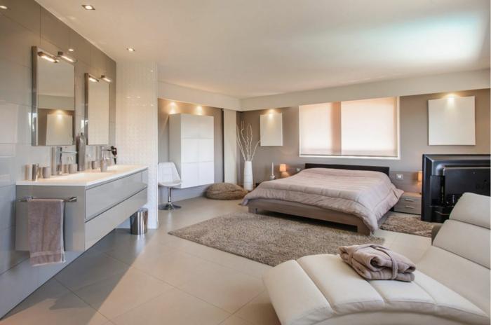 habitaciones modernas, espaciosa habitación en tonos claros, mucha iluminación, muebles modernos, alfombra peluda en beige