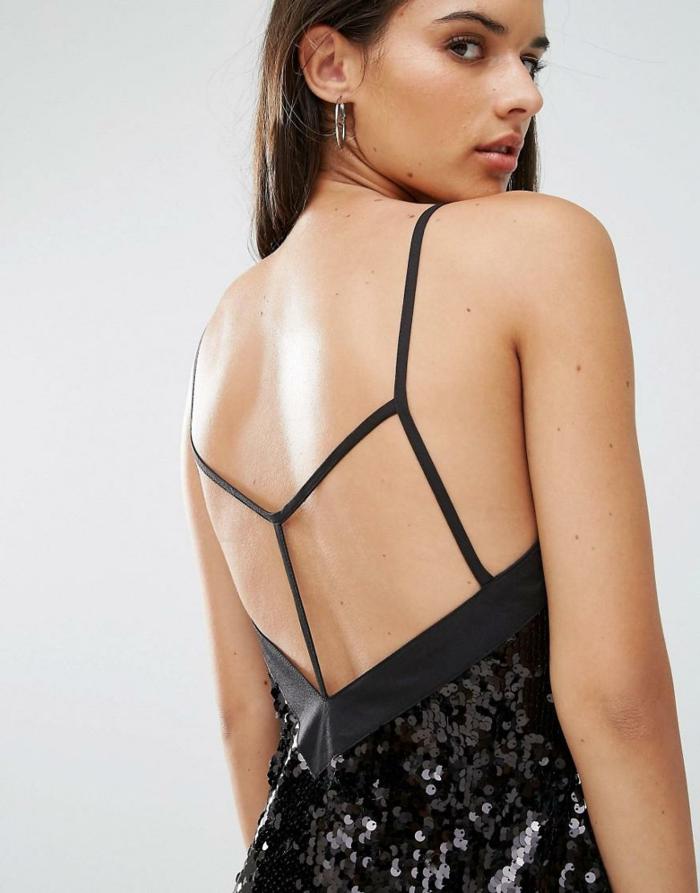 vestidos largos, propuesta muy chic, espalda descubierta con correas finas, vestido negro con lentejuelas