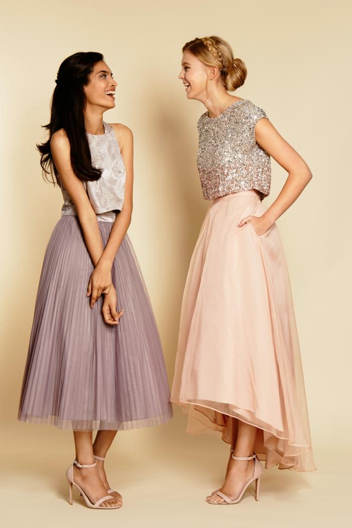 vestidos para bodas, ideas irresistibles de vestidos de invitadas de boda en tendencia, vestidos en dos partes en colores pastel, zapatos beige