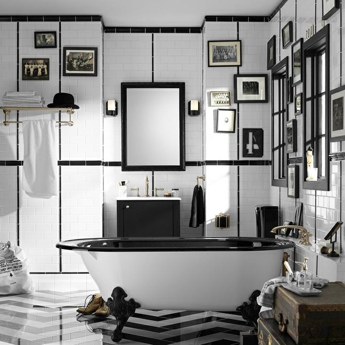 cuartos de baño, baño vanguardista en blanco y negro, diseño moderno con muebles y decoración vintage