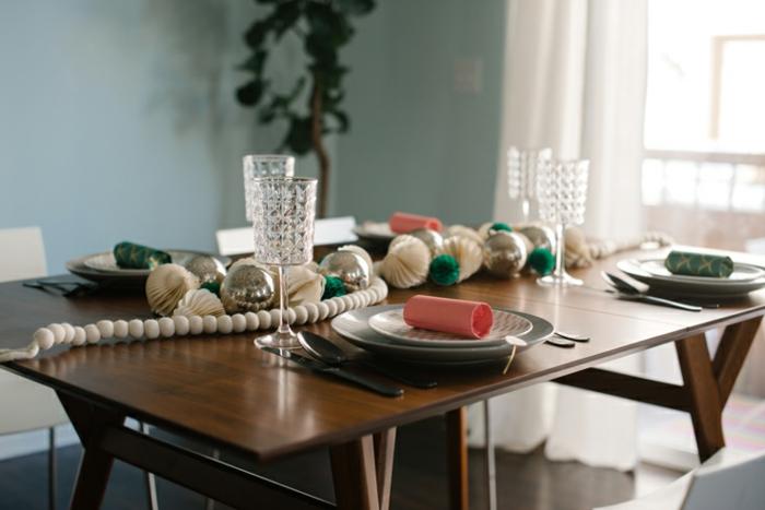 centros de mesa, bonita y barata decoración para la mesa de navidad, ornamentos de papel con guirnalda de bolas blancas