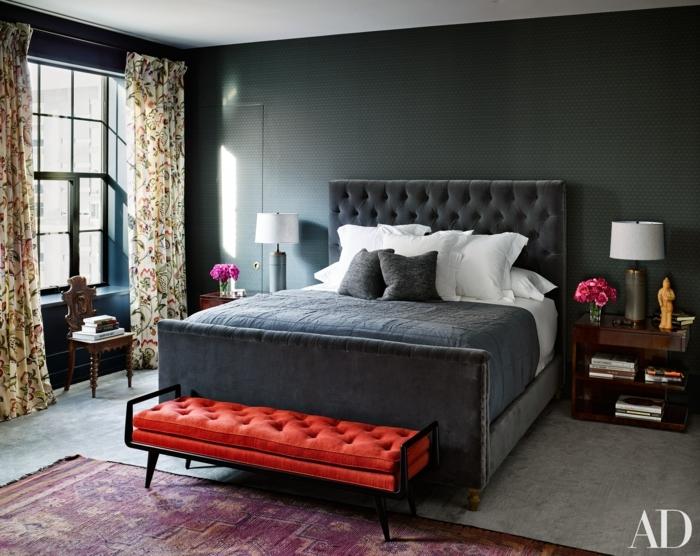 habitaciones modernas, habitación en tonos oscuros, pie de cama en capitoné en color rojo, paredes en gris oscuro
