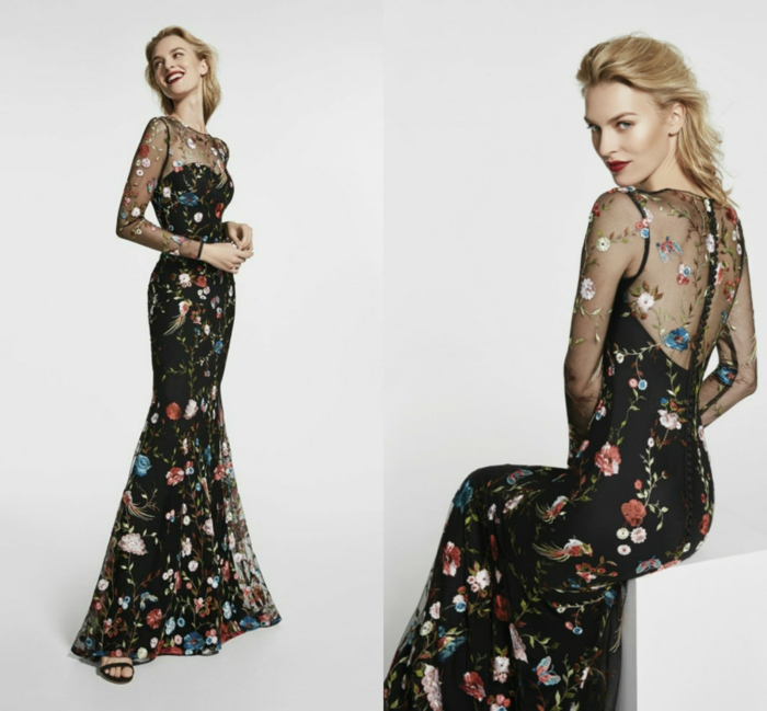 vestidos largos, propuesta en negro, parte superior de tejido transparente con bordado mexicano, vestido muy largo para invitada de boda