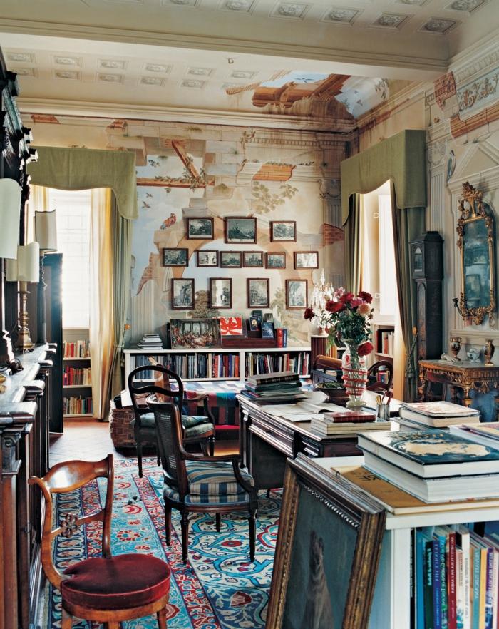 salones modernos, grande salón decorado en la estética del boho chic, muebles vintage, paredes con efecto envejecido