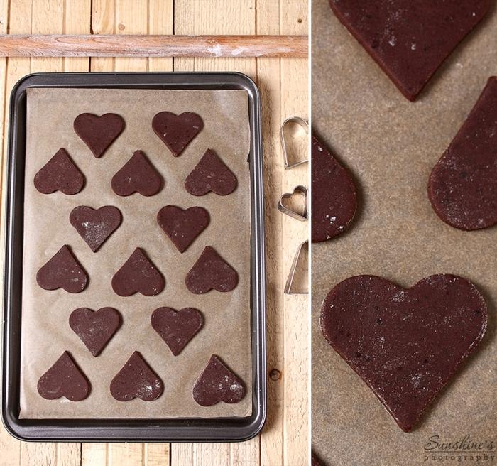 galletas faciles de hacer, galletas de navidad de cacao en forma de corazón, propuesta original y fácil de hacer