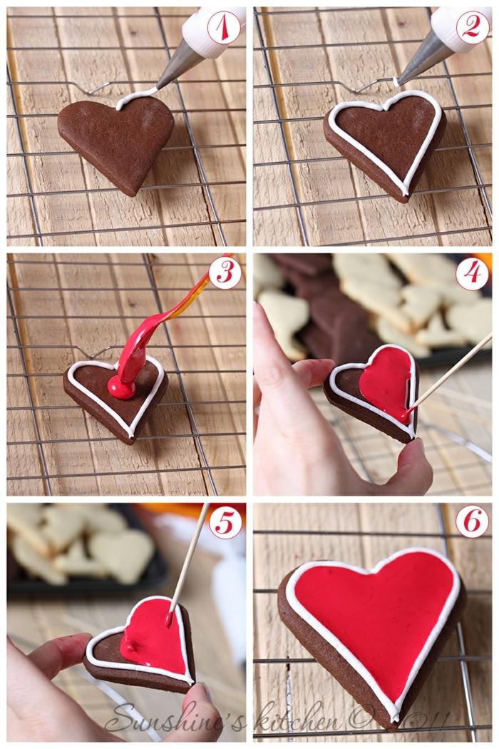 galletas faciles de hacer, pasos para decorar las galletas navideñas con glaseado en blanco y rojo, galletas con la forma de corazón