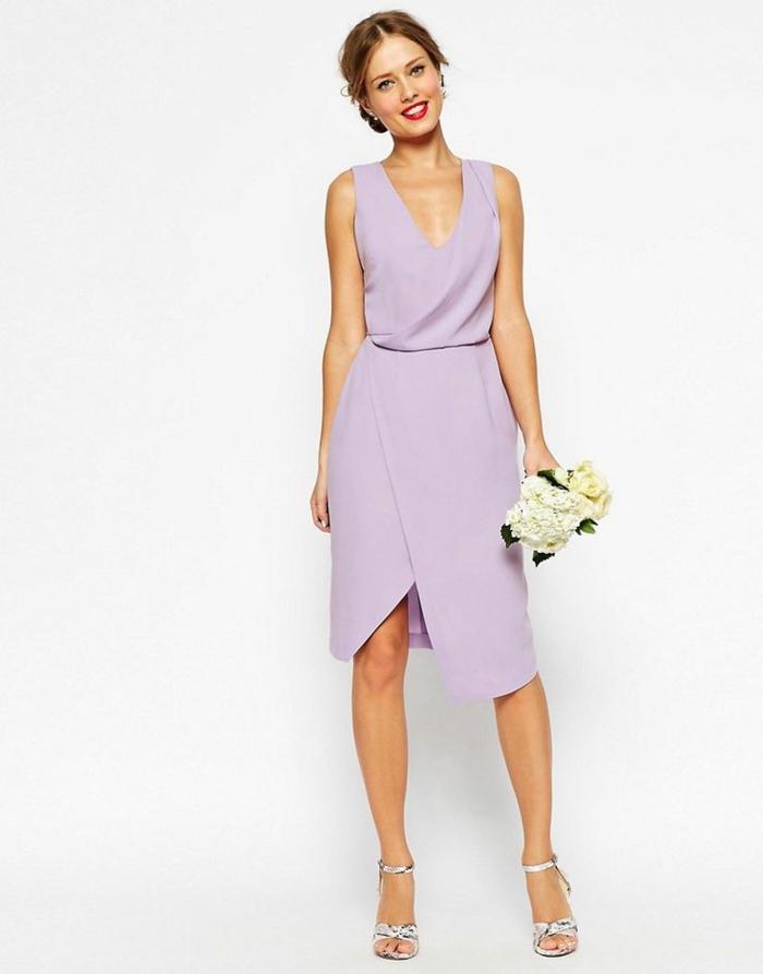 vestidos para bodas, elegante vestido en color lila suave con parte inferior asimétrica, vestido ideal para la dama de honor