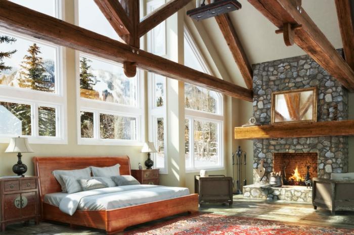 casa de madera, salón acogedor, chimenea de piedra alta, vigas de madera decorativas, cama de madera vintage