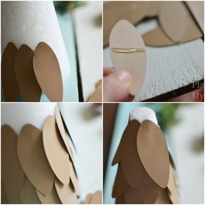 centros de mesa originales, como elaborar una decoración navideña DIY en forma de árbol, ideas con papel y poliestireno