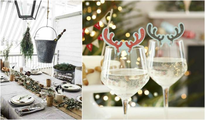 centros navideños, ideas originales para la mesa de navidad, cubata colgante con botella de champán y adornos para los vasos de vino