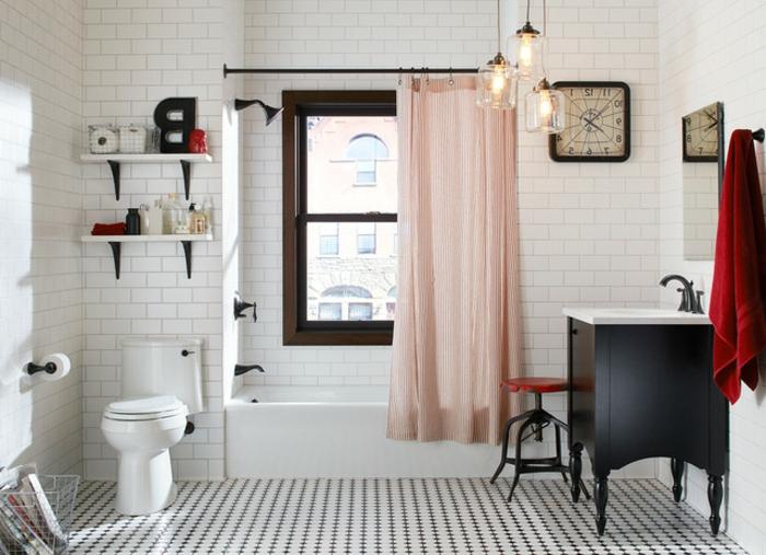 muebles de baño, baño espacioso en tonos claros, contraste con el armario de madera en color negro