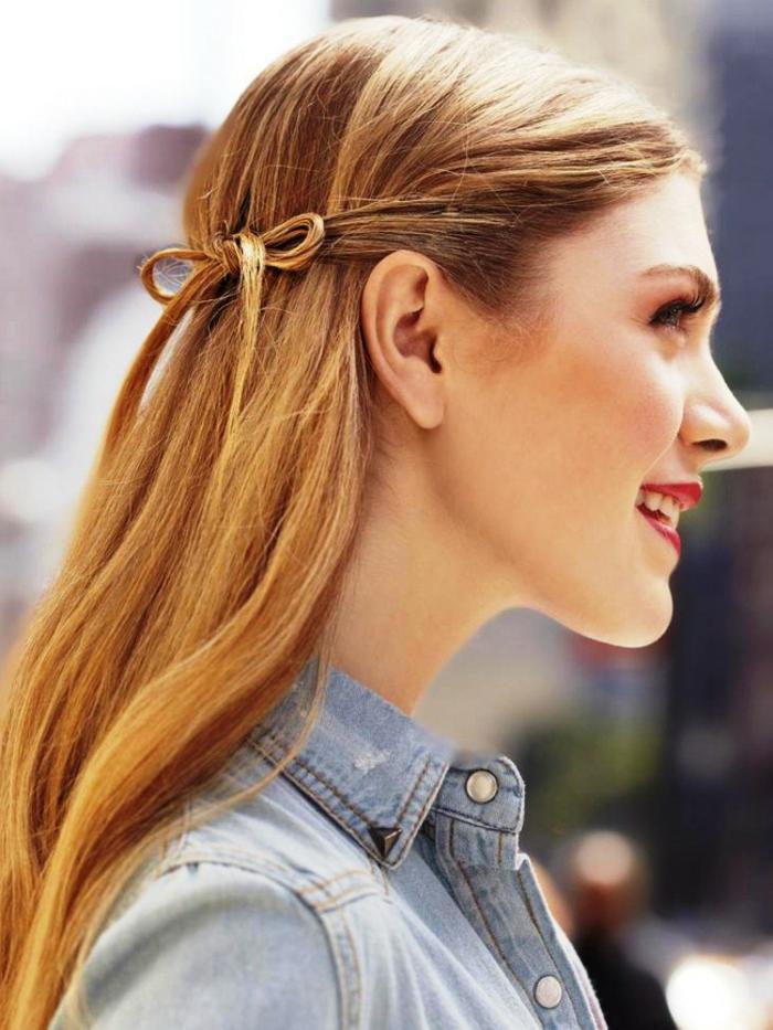 recogidos pelo rizado, semirecogido elegante con pequeño detalle en forma de moño, pelo largo alisado