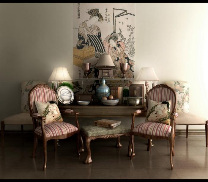 estilo vintage, rincón decorado en esitlo asiático, decoración japonesa en la pared, dos sillas vintage