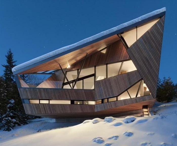 cabañitas del bosque, casa del bosque en estilo moderno minimalista, diseño original con revestimiento de madera, cabaña en la montaña