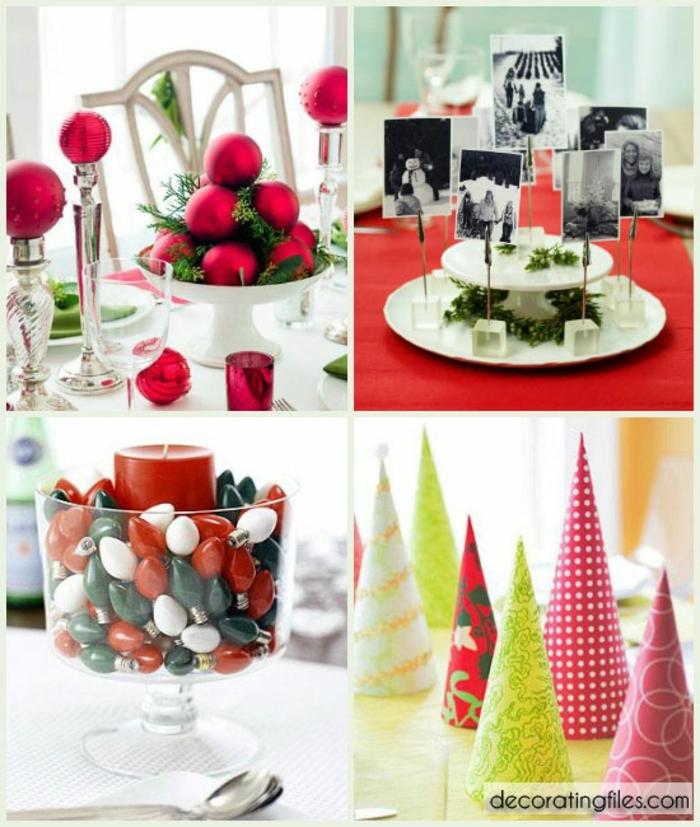 centros navideños, propuestas en rojo para la mesa de navidad, idea de centro de mesa decorado con fotos viejas en negro y blanco