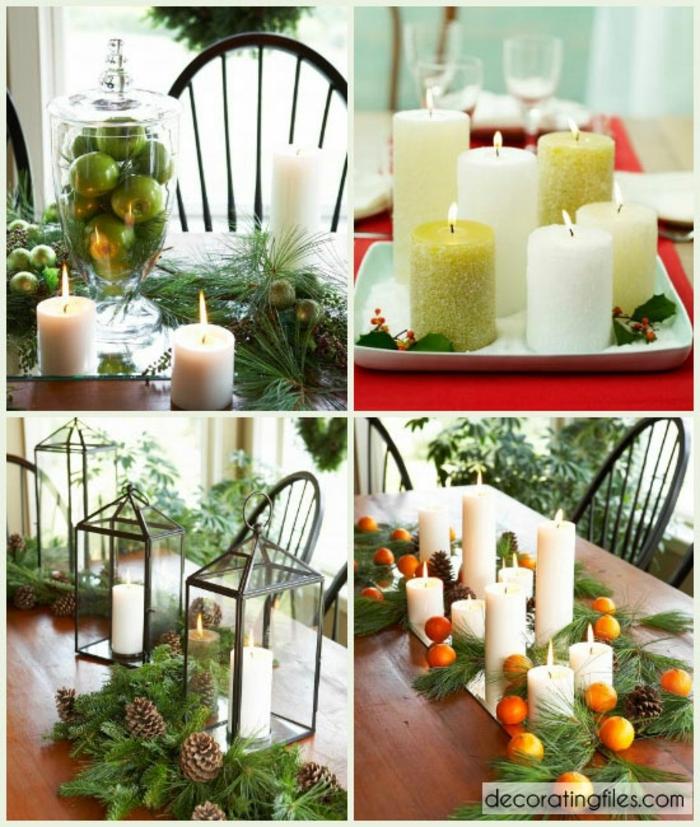 centros navideños, ideas de centros de mesa bonitos en blanco y verde, propuestas con velas y ramas de pino