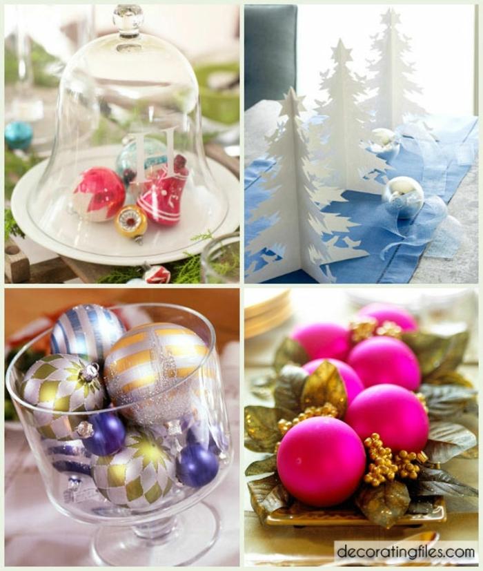 centros navideños, bolas de navidad relucientes en diferentes colores, centros de mesa con adornos de navidad