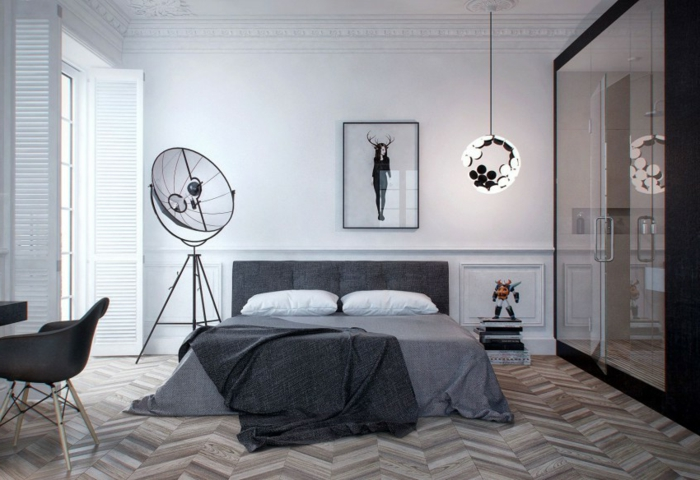dormitorios de matrimonio, habitación moderna con suelo de parquet, cama con cabecero en gris, grande armario y decoración en la pared