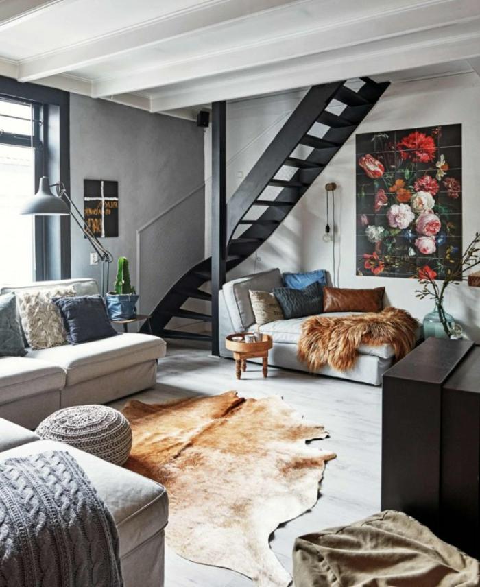 muebles salon, salón moderno con decoracion en estilo bohemio, pintura con flores en la pared, salon en gris y blanco