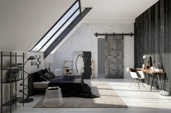 habitaciones modernas, grande dormitorio con techo inclinado, pared en negro, y otra pared con ladrillos en blanco y gris, toque industrial