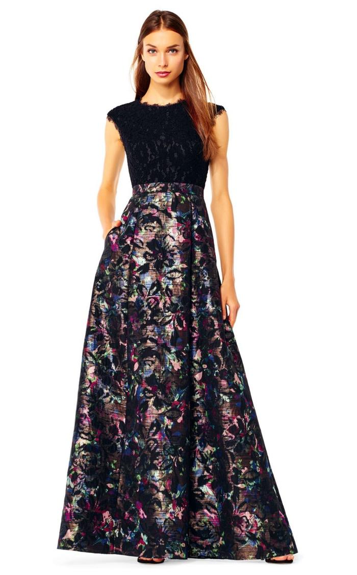vestidos de boda, vestido largo, parte superior de encaje en negro, falda elegante en tonos metálicos oscuros