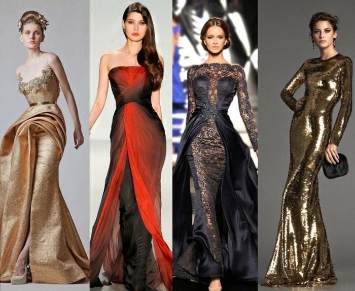 vestidos nochevieja, cuatro vestidos largos de materias refinadas, peinados oficiales, motivos florales