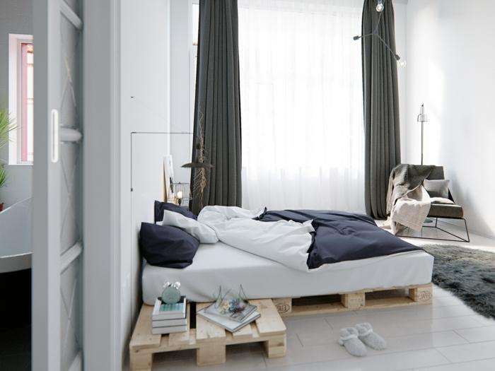 dormitorios modernos, interesante idea con cama de palets, habitación luminosa con cortinas largas en color gris oscuro