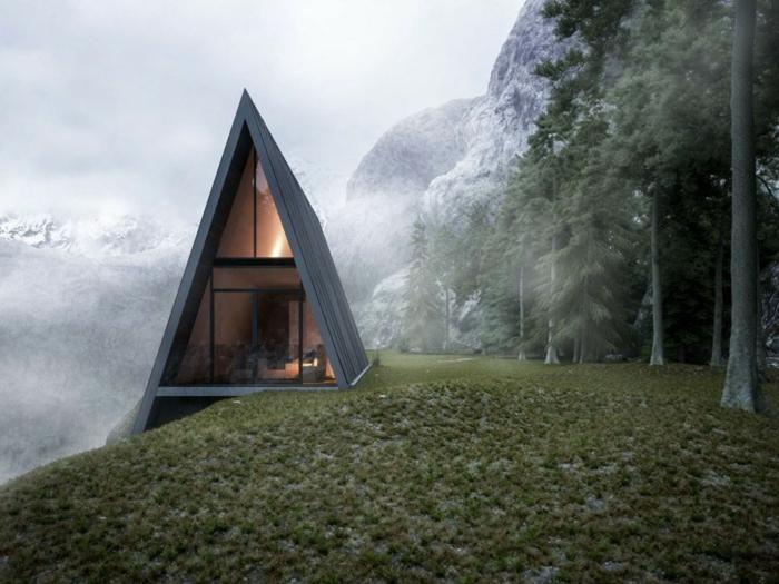 cabañitas del bosque, cabaña de madera en forma triangular, estilo moderno minimalista, paisaje montañoso