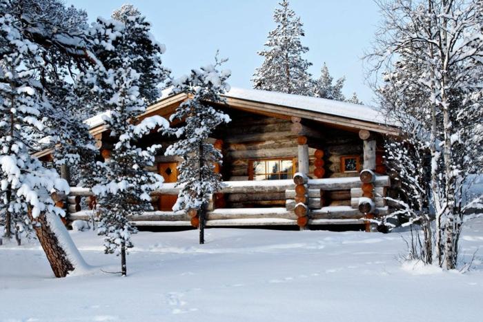 cabañitas del bosque, ideas de cabañas rurales hechas de madera, casa de tamaño grande hecha de leña, vigas de madera ovales