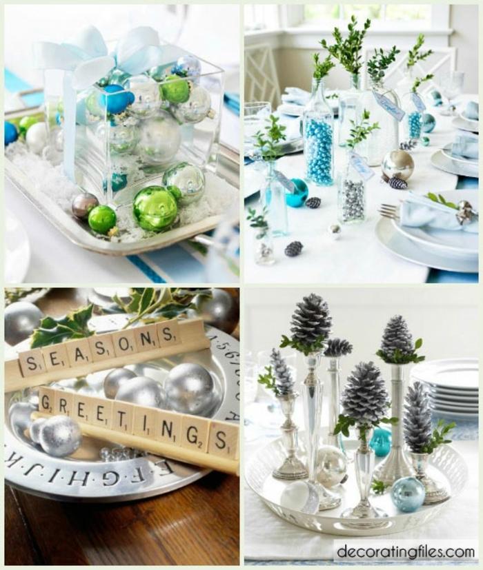 centros navideños, propuesta para centros de mesa en azul y plateado, bolas relucientes en colores cálidos