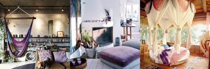 salon, tres ejemplos de salones en boho chic con detalles en morado, ideas de decoración en estilo bohemio