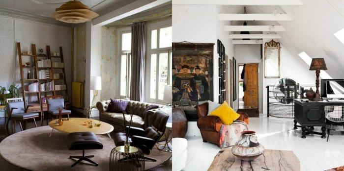 vintage, dose ejemplos de salones decorados en estilo vintage, muebles de madera efecto desgastado, colores beige y blanco