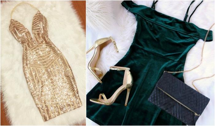 vestidos nochevieja, dos vestidos con detalles en dorado, vestido corto con escote en V, vestido con falda campana en verde