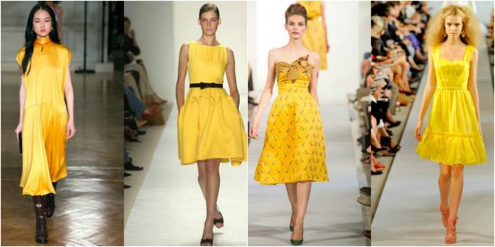 vestidos cortos de fiesta, propuestas en amarillo con detalles en negro, longitud alrededor de la rodilla