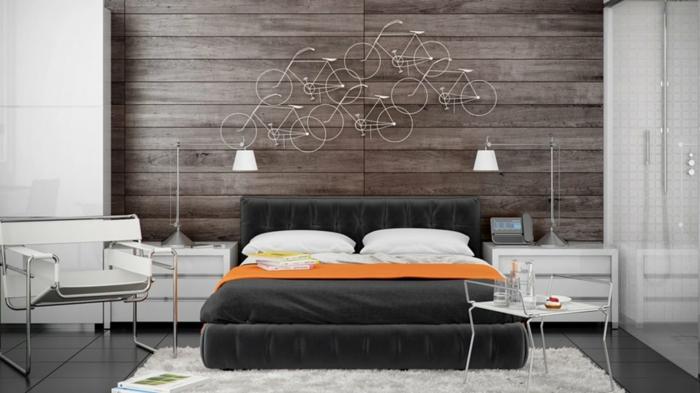 dormitorios modernos, decoraciones de pared originales para habitaciones en estilo moderno, cabecero de vigas de madera con decoracion