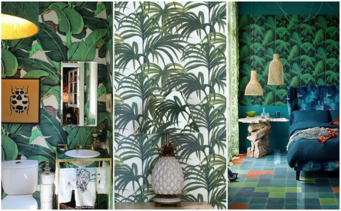 muebles de baño, tres ideas de baños eclécticos en color verde, papel pintado con estampados de motivos florales
